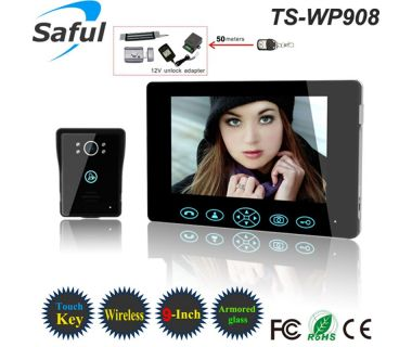 Upgraded 9 '' TFT-LCD villa wireless memory video door phone with remote control unlocking by long distance more than 50meters