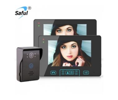 Saful 7 inch household color wireless video intercom doorbell anti-disassembly alarm photography infrared night vision one drag two