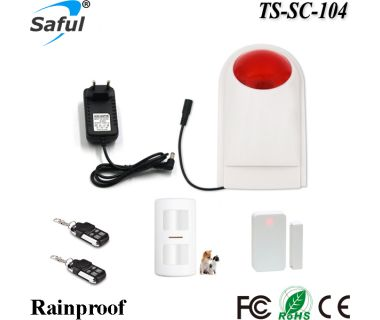 Universal type wireless anti burglar or fire strobe alarm system with pet immune sensor and door sensor