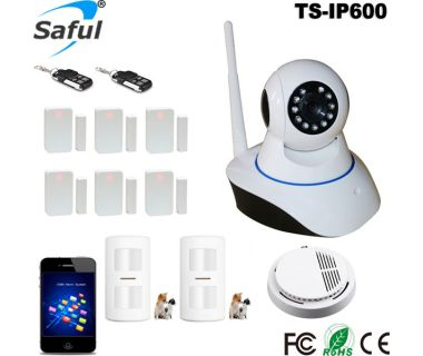 Newest 720P HD Wireless Security WIFI IP Camera TS-IP600 Host 64 Zones Sensors Surveillance System