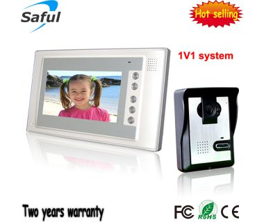Saful 7-inch TFT-LCD wired colour video door phone with function of unlocking TS-YP803