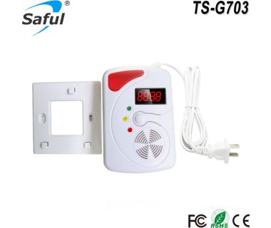 Home Security LED Display Combustible Gas Leak Detector Alarm With Backup Battery