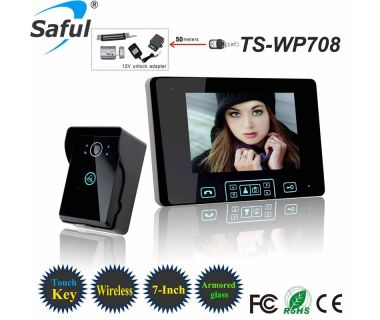 Saful distinctive product battery operated 2.4ghz digital wireless intercom 7 inch color touch key video door phone