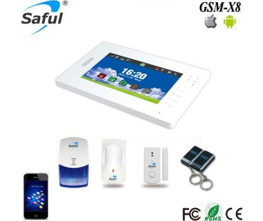 Saful 868Mhz GSM+PSTN touch screen wireless burglar alarm panel system