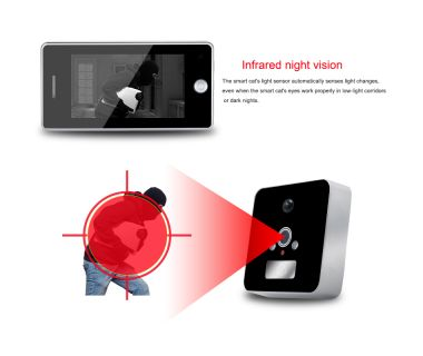 Built-in 3000mAh battery 4.3 inch Night vision wide angle peephole digital door viewer
